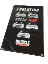 MUSCLE GARAGE COMMODORE EVOLUTION SHED BANNER, GEN1