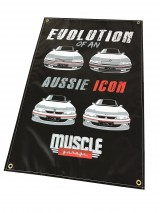 MUSCLE GARAGE COMMODORE EVOLUTION SHED BANNER GEN2
