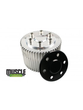 MUSCLE GARAGE,  Billet Top Blower Pulley Cover Black Anodised