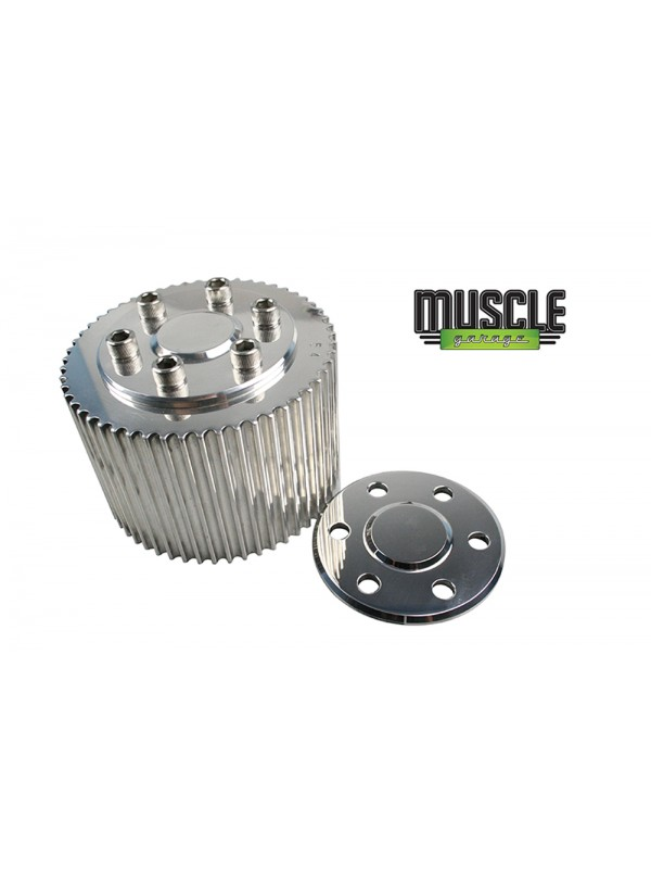 MUSCLE GARAGE, Billet Top Blower Pulley Cover Polished